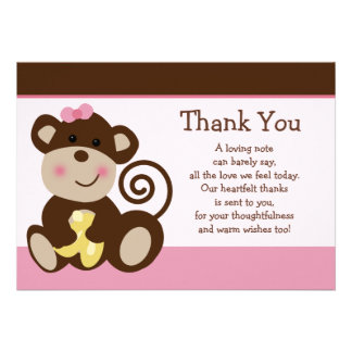 Cute Melanie Monkey Baby Shower Thank You card