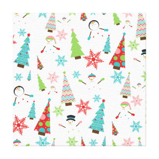Cute Melting Snowman Funky Christmas Trees Canvas Print