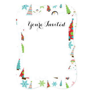 Cute Melting Snowman Funky Christmas Trees Card