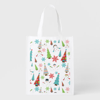 Cute Melting Snowman Funky Christmas Trees Reusable Grocery Bag