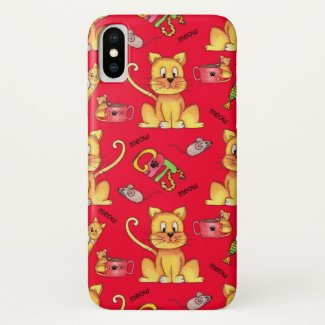 Cute Meow Cats Red Case-Mate iPhone Case