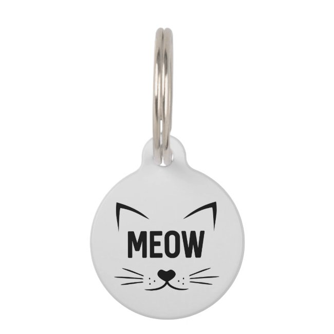 Cute Meow Personalized Gray Cat Tag