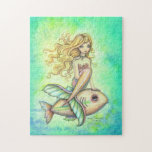 Cute Mermaid and Fish Fantasy Art Puzzle