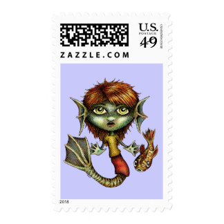 Cute Mermaid and her Fish Friend Stamp