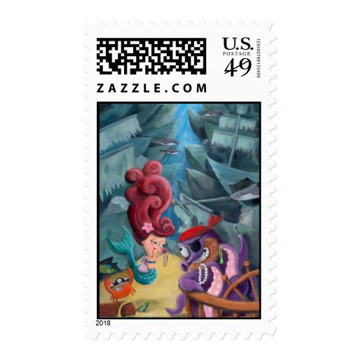 Cute Mermaid and Pirates Postage Stamp