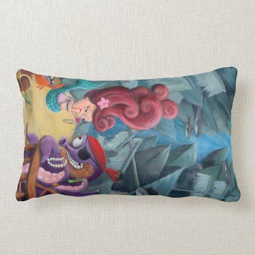 Cute Mermaid and Pirates Throw Pillow