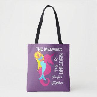 Cute Mermaid  And  Unicorn Fantasy Nautical Design Tote Bag