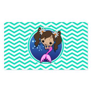 Cute Mermaid; Aqua Green Chevron Business Cards