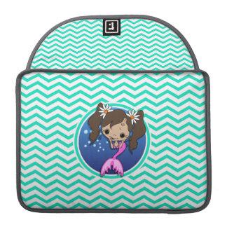 Cute Mermaid Aqua Green Chevron MacBook Pro Sleeve