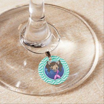 Cute Mermaid; Aqua Green Chevron Wine Glass Charm by doozydoodles at Zazzle