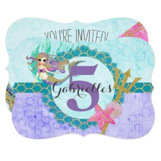 Cute Mermaid Aqua Little Girl Birthday Invitation
