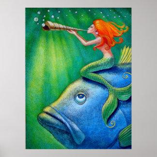 Cute Mermaid Art Poster