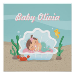 Cute Mermaid Baby Girl Nursery Decor Poster