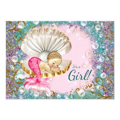 Elegant Adorable Mermaid Baby Shower Invitations #130   Zazzle.com