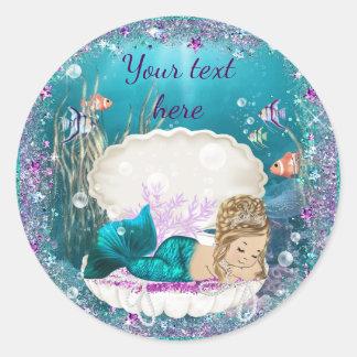 Cute Mermaid Baby Shower Stickers