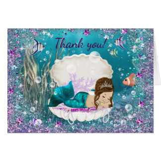 Cute Mermaid Baby Shower Thank You Cards
