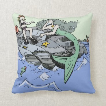 Beach Themed Cute Mermaid Beach Child Throw Pillow