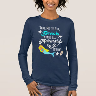 Cute Mermaid Beach Themed Slogan Graphic Long Sleeve T Shirt