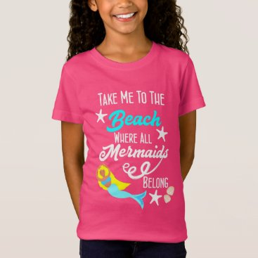 Beach Themed Cute Mermaid  Beach Themed Slogan Graphic T-Shirt