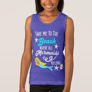 Beach Themed Cute Mermaid  Beach Themed Slogan Graphic Tank Top