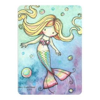 "Cute Mermaid Birthday Party Invites for Girls 5"" X 7"" Invitation Card"