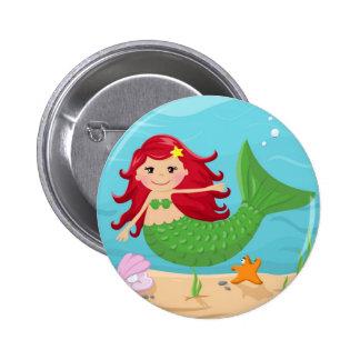 Cute mermaid pinback buttons