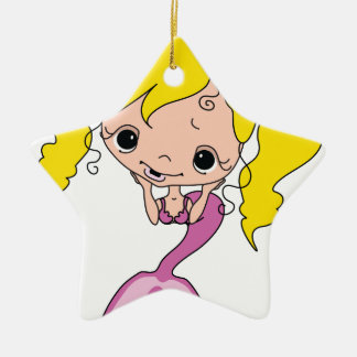 Cute Mermaid Cartoon Graphic Double-Sided Star Ceramic Christmas Ornament