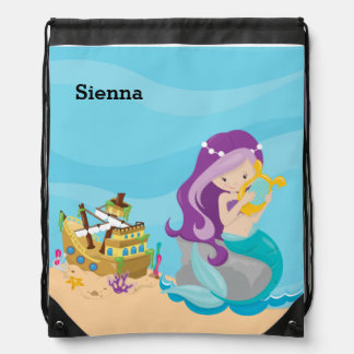 Cute Mermaid Drawstring Backpack