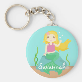 Cute Mermaid from the Ocean, For Girls Basic Round Button Keychain
