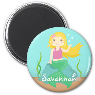 Cute Mermaid from the Ocean, For Girls 2 Inch Round Magnet