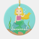 Cute Mermaid from the Ocean, For Girls Double-Sided Ceramic Round Christmas Ornament
