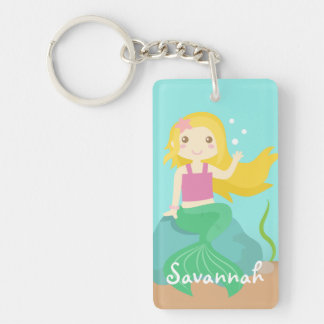 Cute Mermaid from the Ocean, For Girls Single-Sided Rectangular Acrylic Keychain