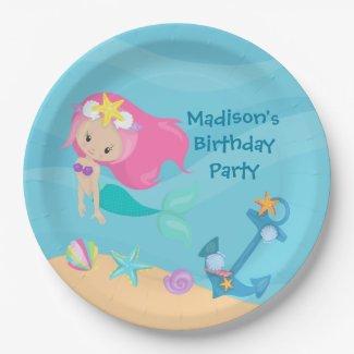 Cute Mermaid Girl Beach Custom Kid Birthday Party Paper Plate