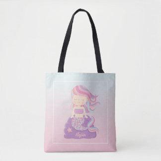 Cute Mermaid Girl Pink Blue Ombre Tote Bag
