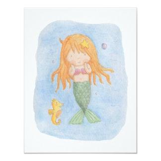 Cute Mermaid Girls Birthday Party Invitations