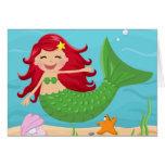 Cute mermaid greeting cards