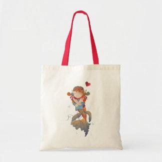 Cute Mermaid Hugging a Pillow Budget Tote Bag