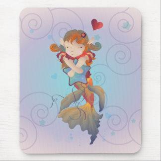 Cute Mermaid Hugging a Pillow Mouse Pad