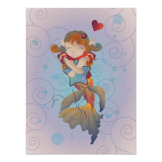 Cute Mermaid Hugging a Star Pillow Poster