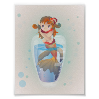 Cute Mermaid in a Glass Poster