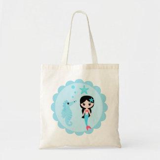 Cute Mermaid in Blue Tote Bag