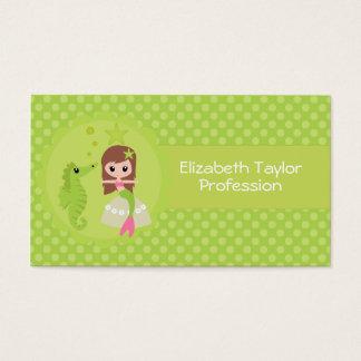 Cute Mermaid in Green Business Card