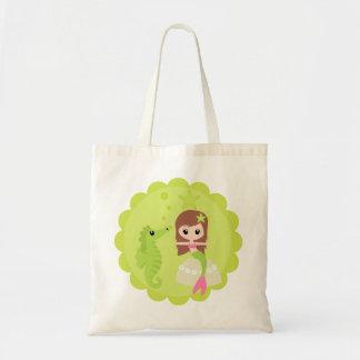 Cute Mermaid in Green Tote Bag
