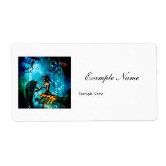 cute mermaid label