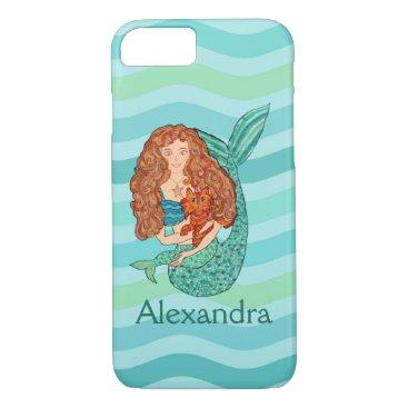 Beach Themed Cute Mermaid & Mercat Teal & Sea Green Custom Name iPhone 7 Case