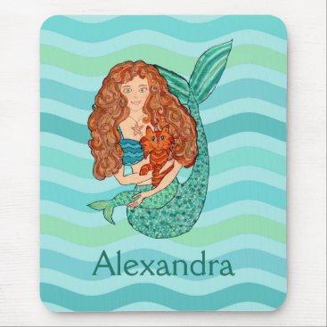 Cute Mermaid & Mercat Teal & Sea Green Custom Name Mouse Pad