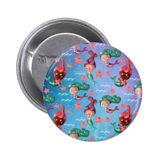 Cute Mermaid Pattern Pinback Buttons
