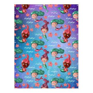 Cute Mermaid Pattern Postcard