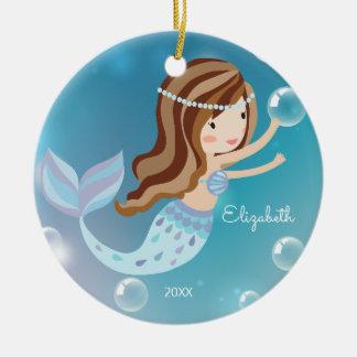 Cute Mermaid Personalized Christmas Ornament