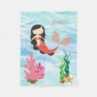 Cute Mermaid Personalized Fleece Baby Blanket